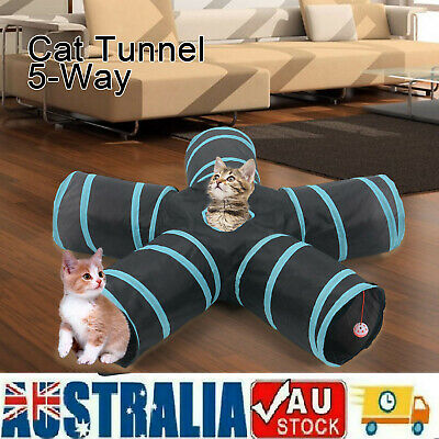 AU23.69 • Buy Pet Cat Kitten Puppy Tunnel Play Toy 5 WAY Foldable Exercise Tunnel Funny Toys