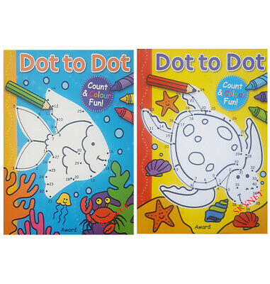 CHILDRENS KIDS DOT TO DOT Activity Colouring Book Books AGE 3+ • 3.49£