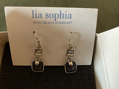$ CDN14.51 • Buy New Lia Sophia Drop Earrings- Black/crystal/silver Tone