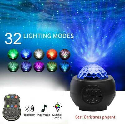 Galaxy Star Projector Music Night Light Starry Ocean Wave Lamp Remote Control S1 • 18.59£