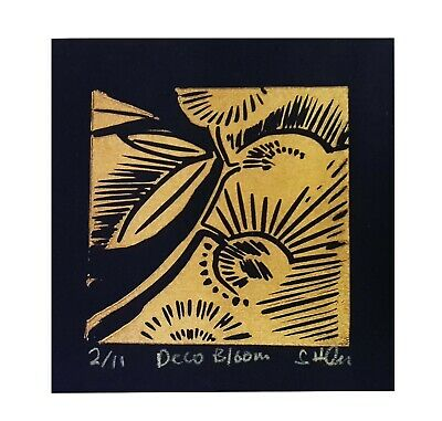 Deco Bloom, Gold Flowers, Black, Limited Edition Affordable Art, Lino Print • 5£