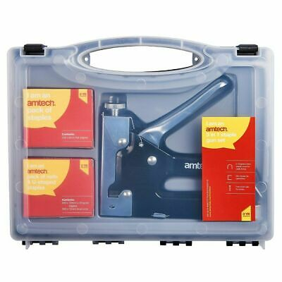 Heavy Duty Stapler Staple Gun With 600 Staples U Cable Upholstery Nail Joinery • 12.45£