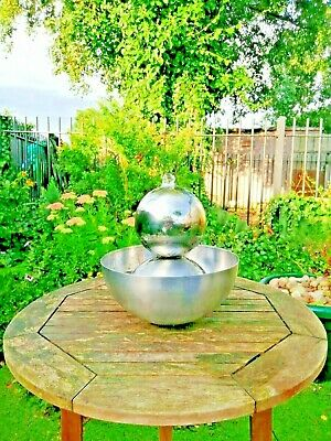 *Solar Powered * Table Top Stainless Steel Ball  Sphere Garden Water Feature  • 59.99£