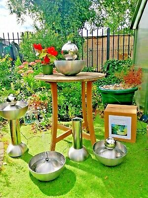 *Solar Powered* Stainless Steel Table Top /Free Standing Garden Water Features • 59.99£