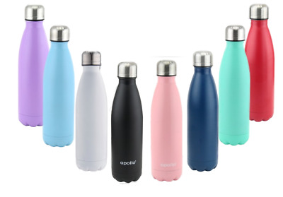 £9.99 • Buy Stainless Steel Water Bottle - Insulated Metal Sport & Gym Drinks Flask 500ml