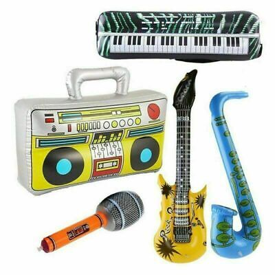 Inflatable Music Instruments Guitar/Microphone/SAXOPHONE COLOURFUL BLOW UP PARTY • 9.59£
