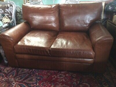 Sofa Genuine Real Leather Vintage 'Halo' Distressed Large Two Seater 155cm • 650£