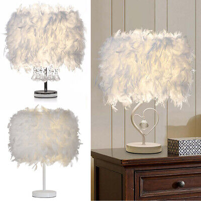 White Feather Shade Table Lamp Lampshade Elegant Bedside Desk Night Light Decor • 19.95£