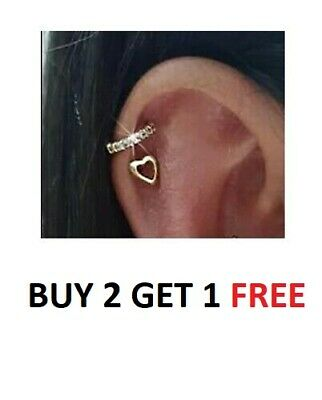 Twin Set Heart/Diamante Nose Ring Hoop Rook Helix Ear Ring Cartilage Tragus • 3.99£