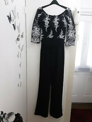 Ladies Black/silver Embroidered/sequined Jumpsuit Size 12 • 18£