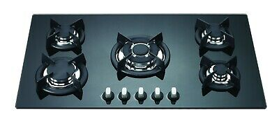 AU350 • Buy 86cm BLACK GLASS 5 BURNER GAS COOKTOP - BRAND-NEW IN BOX - LPG JETS INCLUDED