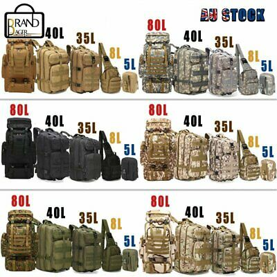 AU46.99 • Buy 5L/8L/35L/40L/80L Tactical Outdoor Military Trekking Backpack Camping Hiking Bag