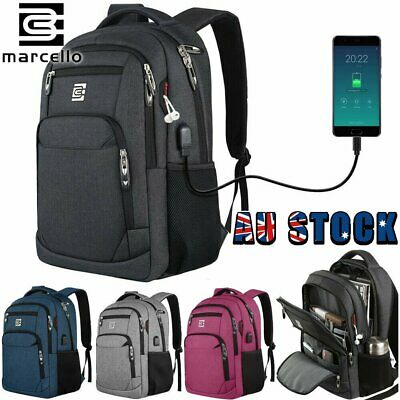 AU51.59 • Buy MARCELLO Business USB Charging College School Bag Men Laptop Travel Backpack AU