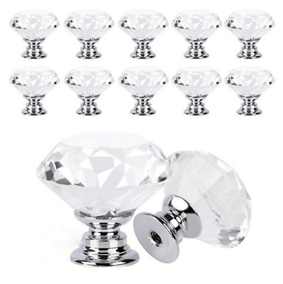 12x Clear Crystal Glass Diamond Door Knobs Cupboard Drawer Cabinet Handles UK • 9.06£
