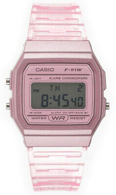 $ CDN25.36 • Buy Casio Women's Classic Digital Quartz Pink Transparent Resin Watch F91WS-4