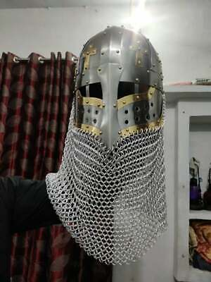 Viking Helmet Covered By Chainmail 18 Gauge Steel  • 125£
