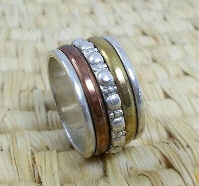 Spinner Spinning Worry Wide Band Ring 925 Sterling Silver Size M 6.5 • 11.95£