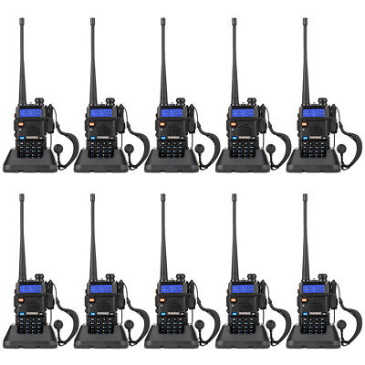 10XBaofeng UV-5R LCD Dual Band UHF/VHF Walkie Talkie Ham Two Way Radio+Earpieces • 169£