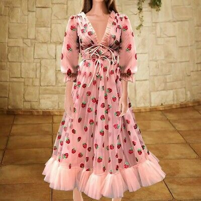 Elegant Women Puff Sleeve Strawberry Sequins Midi Dress Mesh V-neck Party Dress • 18.99£