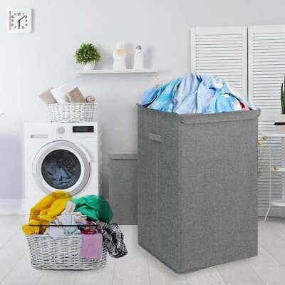 90L Large Folding Laundry Basket Washing Fabric Collapsible Storage Hamper Bin • 10.99£