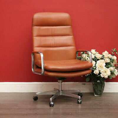 AU450 • Buy Vintage Framac Leather Office Chair, High Back Leather Swivel Office Desk Chair