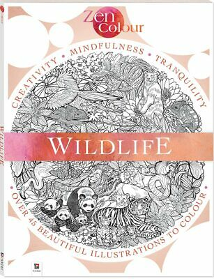 AU12.85 • Buy Adult Colouring Book Zen Wildlife Animals Mind Relaxation Stress Relief Calming