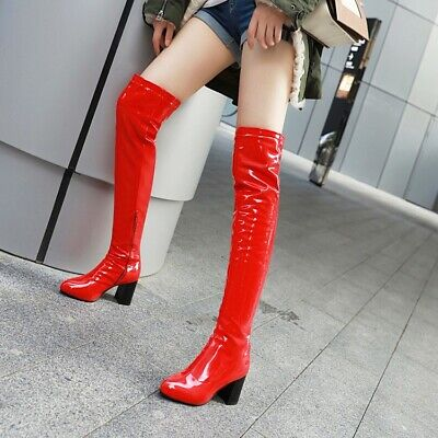 £33.99 • Buy Women Over Knee Thigh High Boots Block High Heel Patent Leather Boots Shoes Size