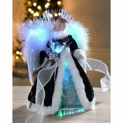 Angel Christmas Tree Topper Decoration Fibre Optic Lights Black Silver 25cm • 19.99£