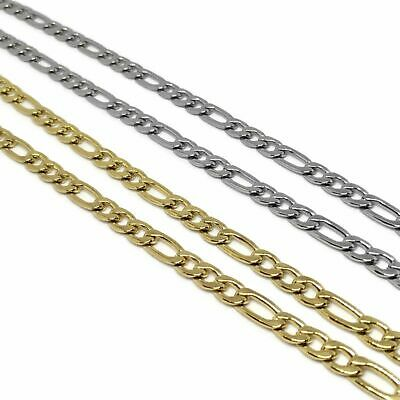 Gold / Silver Steel Figaro Chain L FREE UK POST L Link Unisex Stainless Necklace • 6.99£