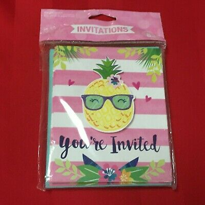 Hawaiian  Pineapple Luau Party Invitations • 4.95£