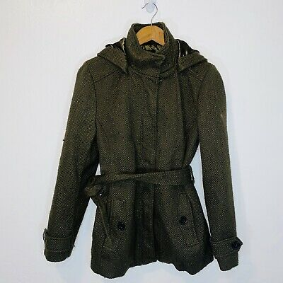 $35 • Buy Nicole Miller Army Green Textured Quilted Pea Coat M