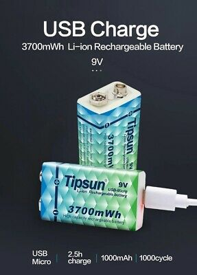 AU12.99 • Buy TIPSUN Micro USB 6LR61 9v Rechargeable Battery Li-ion Battery 1000mah With Cable