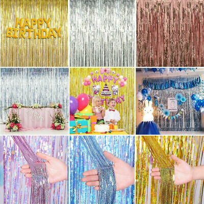 2M-3M Foil Fringe Tinsel Shimmer Curtain Door Wedding Birthday PARTY DECORATIONS • 3.19£