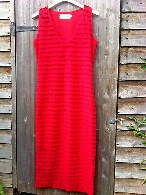 Bodycon Bettie Page Stretch Wiggle Dress In Red! With Scalloped Texture! L (12) • 12£