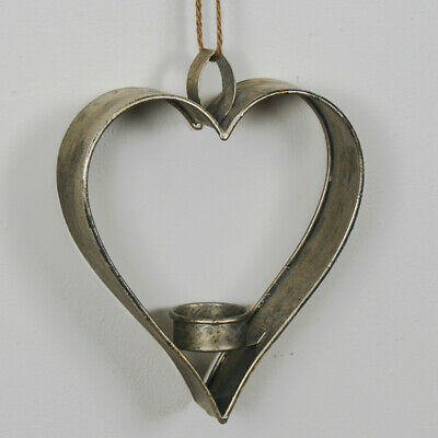 Antique Silver Gold Heart Metal Home Wedding Hanging Tealight Candle Holder • 12.95£