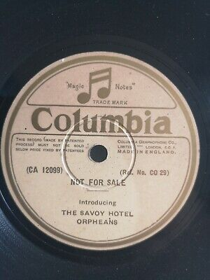 The Savoy Hotel Orpheans Columbia Demo Dance Jazz 78 RPM, Etched Side • 25£