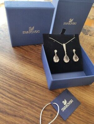 Swarovski Jewellery Ladies Rhodium Plated Vintage Earring And Necklace Set • 40£