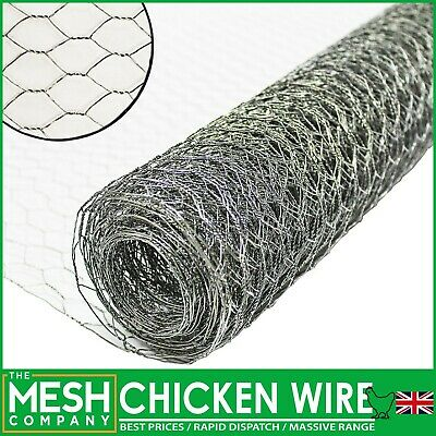 £14.99 • Buy Galvanised Chicken Wire Mesh Rabbit Netting Fencing Fence Net Cages Runs Pens