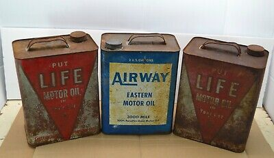 $ CDN98.85 • Buy Lot 3 Vintage Airways Life Motor Oil 2 Gallon Can Service Station Car Advertise