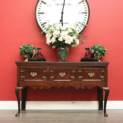 AU1450 • Buy Antique Georgian Sideboard, 3 Drawer Oak Hall Table Cabinet Cupboard Chest