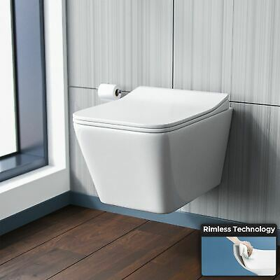Wall Hung Toilet Rimless Designed Compact Pan With Soft Close Seat WC | Inton • 139.99£