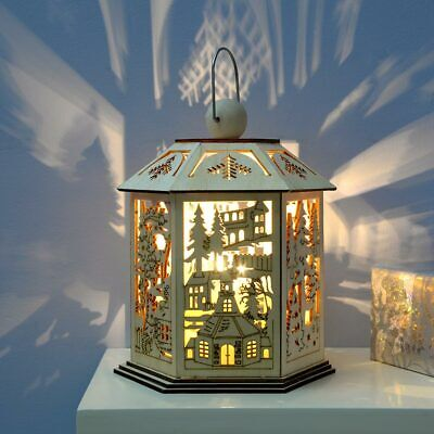 £14.99 • Buy Pre-Lit Wooden Christmas Lantern Decoration With Warm White LED Lights 20cm