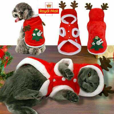 Pet Dog Cat Christmas Clothes Warm Deer Horn Hoodie Kitten Xmas Costume Outfits • 7.29£