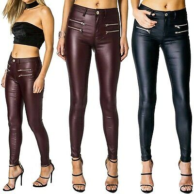 New Ladies Zip Pockets Pu Jeans Women Leather Look Skinny Stretch Trousers Pants • 14.99£