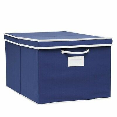 $19.97 • Buy NEW Pottery Barn Teen Solid Large Navy Blue Canvas Bin With White Trim  Handles