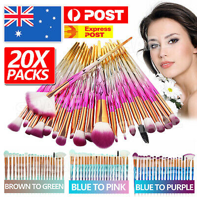 AU8.95 • Buy Diamond Unicorn 20PCS Eyeshadow Eyebrow Blending Brush Set Eye Make-up Brushes
