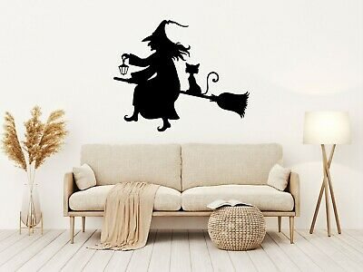 £4.19 • Buy Halloween OLD WITCH Vinyl Decal Sticker Window Wall Decoration Spooky Party N