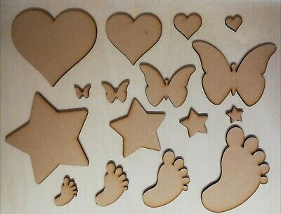 MDF Shapes - Wooden Hearts Butterfly Star Baby Feet - Craft Decoration Decoupage • 0.99£