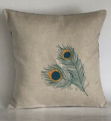 """Peacock Feather Embroidered Cushion Cover 12""""x12"""" **Last One** • 9.50£"""