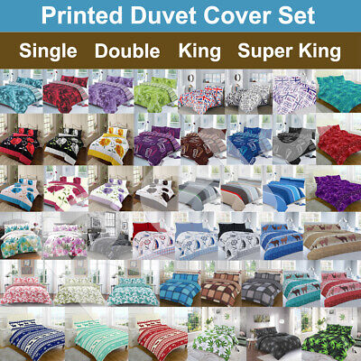 £12.99 • Buy Rose Printed Duvet Cover Quilt Set With Pillow Cases All Sizes Available